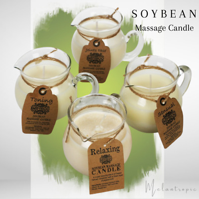 Soybean Massage Candle, Pure Essential Oil - Relaxing-Sensual-Toning-Joints Ease • 11.99£