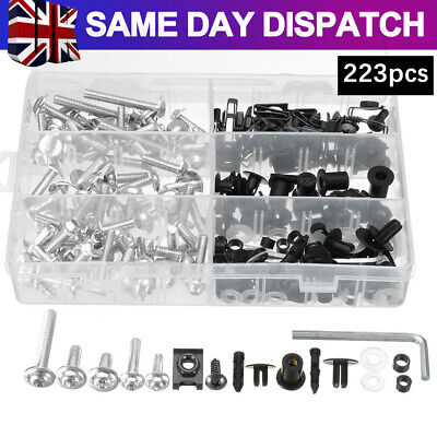 £17.95 • Buy 223pcs Motorcycle Fairing Body Bolts Kit Spire Speed Fastener Clips Screw Nuts