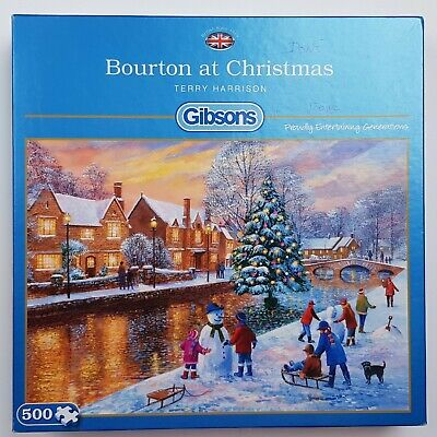 Gibsons 500 Piece Puzzle  Bourton At Christmas  By Terry Harrison, 100% Complete • 10£