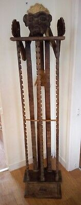 Vintage Tribal Art Hand-carved Wooden CD Rack For 60 CD's With Drawer • 60£