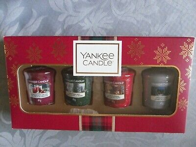 Yankee Candle Christmas 4 X Votive Samplers Gift Set After Sledding Cabin New • 15.95£