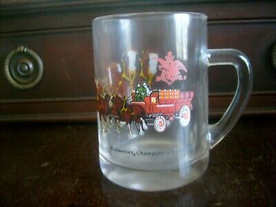 $ CDN15.64 • Buy Budweiser Champion Clydesdale Horses Wagon Glass Beer Mug 4.75  FREE SHIPPING