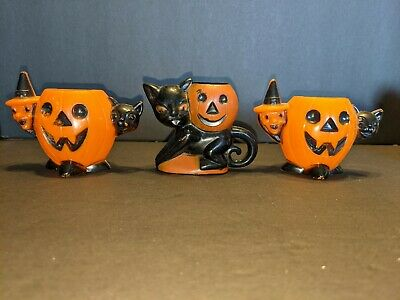 $ CDN65.32 • Buy Vintage Rosbro Halloween Black Cat W/JOL Plastic Candy Container  1950s Witch