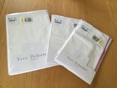 NEW YVES DELORME AMITY ROSE  BLANC Duvet Cover Set DOUBLE + TWO  PILLOWCASES • 125£