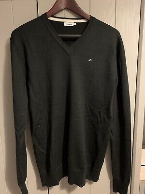 J Lindeberg XL Black 100% Merino Wool V Neck Sweater • 10£