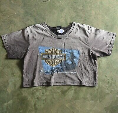 $ CDN13 • Buy Harley Davidson VTG Crop Short Customized Resize T Shirt Faded Stained Thrashed