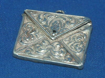 A Lovely Antique Silver Envelope Stamp Case, Ornate Repousse Design • 39£