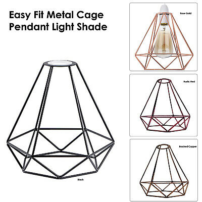 £10.39 • Buy Metal Pendant Light Shade Ceiling Industrial Geometric Wire Cage Lampshade Decor