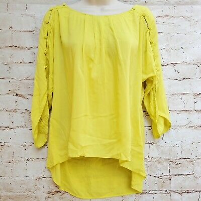 $ CDN19.60 • Buy Anthropologie Maeve Size XS Yellow Peasant Blouse Button Sleeve Details