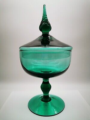 Vintage 60s Murano Glass Pedestal Candy Bowl Sea Green  • 34.50£
