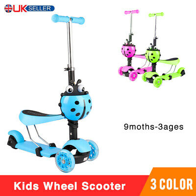 3 In 1 Kids Child Scooter 3 Wheel Toddler Beginner Kick Scooters Adjustable Seat • 17.99£