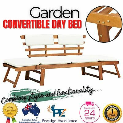 AU244.87 • Buy Garden Outdoor Sun Bed Bench Patio Furniture Lounge With Cushion Wooden Lounger