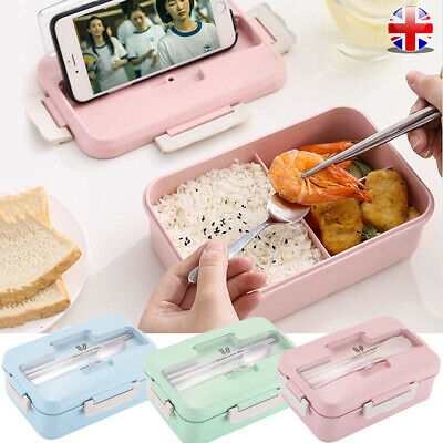 Portable 3 Compartments Lunch Box School Travel Picnic Food Container Bento Case • 6.67£