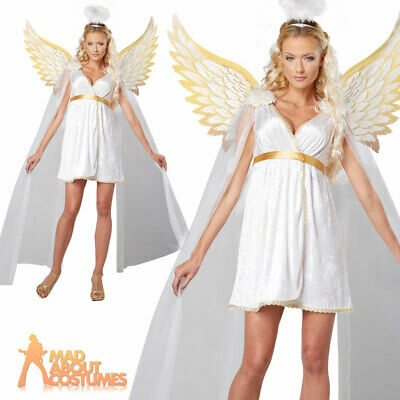 £24.99 • Buy Adult Ladies Radiant Angel Costume Sexy Christmas Fancy Dress Outfit Wings Halo