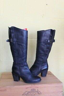 Black Leather Mid Heel Riding Style Boots Size 6 / 39 By Pavers Used Condition • 13£