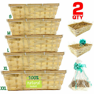 2qty DIY Make Your Own Hamper Wicker Gift Basket Box Kit Shred+Cellophane+Bow  • 10.49£
