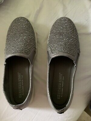 Sketchers Street Ladies Silver Sparkly Memory Foam Shoes Size 5 1/2 • 5£