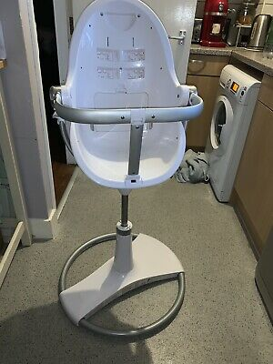 Bloom Fresco White Highchair With Tray And Footrest - Good Condition • 180£