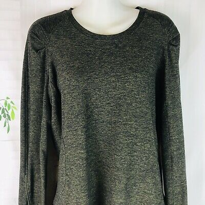 $ CDN56.04 • Buy Lululemon Women's Heathered Black Green Long Sleeve Top Shirt Pockets Size 10