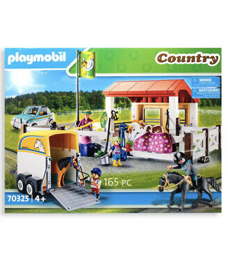 Playmobil Country - 70325 Farm Trailer Stables Horse Horses Jeep Car Riding NEW • 44.99£
