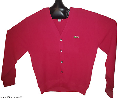 Vintage IZOD Lacoste Men's Acrylic Cardigan Sweater Medium Pink 80's Made In USA • 17.36£