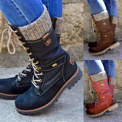 £20.99 • Buy Womens Boots Mid Calf Ladies Shoes Army Combat Military Biker Low Flat Shoe Size