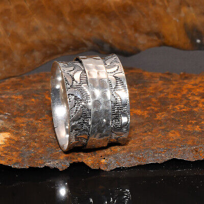 Anxiety Boho 925 Sterling Silver Spinner Ring Women Spin Jewelry • 7.88£