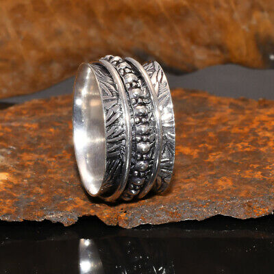 Anxiety Boho 925 Sterling Silver Spinner Ring Women Spin Jewelry • 5.87£