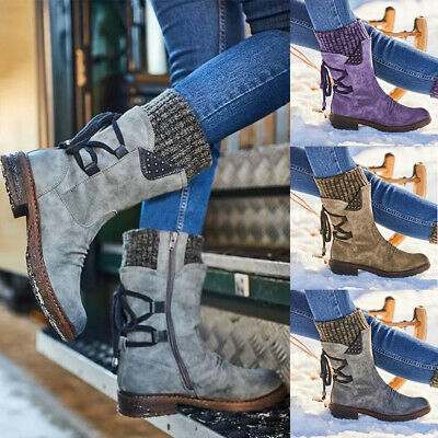 Ladies Womens Winter Mid Calf Lace Up Knitted Low Flat Heel Shoes Boots Size Uk • 17.99£
