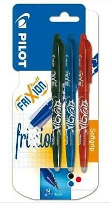 Pack Of 3 Pilot Frixion Ball Erasable Pen 0.7 Mm Tip - Softgrip Blue, Black, Red • 6.99£