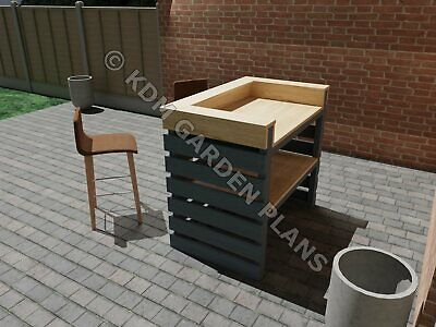 Outdoor Garden Bar Build Plans Do It Yourself Cocktail Gin Patio BBQ Servery • 3.99£