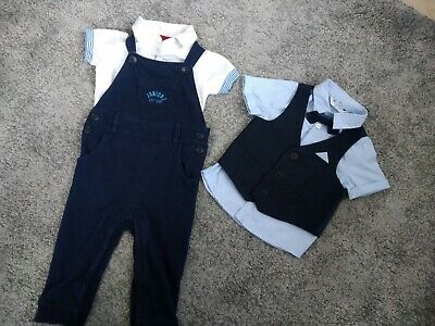 Baby Boys Junior J Dungarees Outfit & Waistcoat Dickie Bow Shirt Special... • 4£