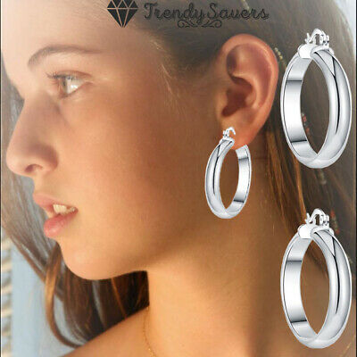 100% 925 Sterling Silver Filled Thick Round Hoop Earrings Fashion Jewelry Women • 3.99£