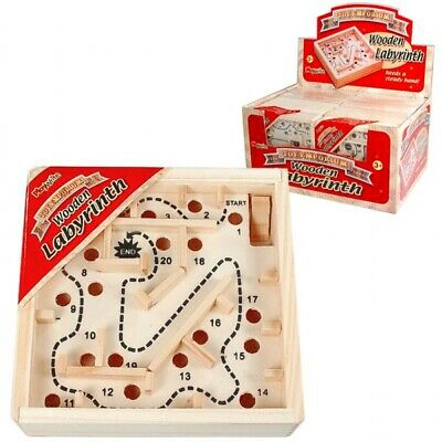 £3.89 • Buy WOODEN LABYRINTH  Kids Adults Traditional Toy Maze Game 2 X Balls Family Games