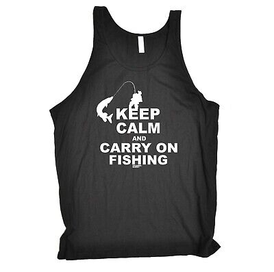 Fishing Vest Funny Novelty Singlet Jersey Top - Keep Calm And Carry On Fishing • 7.93£