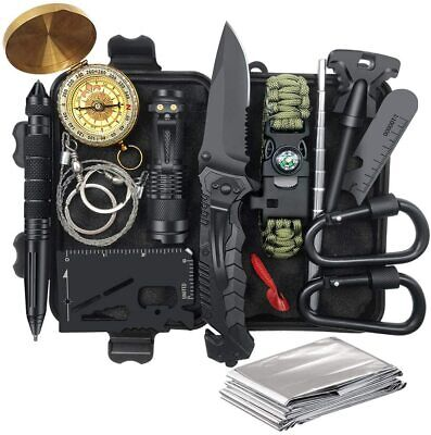 $25.99 • Buy Outdoor Emergency Survival Gear Kit Camping Tactical Tools 14 In 1 SOS EDC Case
