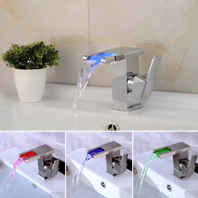 LED Waterfall Tap Bathroom Basin Taps Mixer Bath Single Lever Stainless Steel • 32.99£