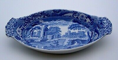 EARLY SPODE BLUE ITALIAN OVAL DISH WITH HANDLES C.1900's - PERFECT • 14.99£