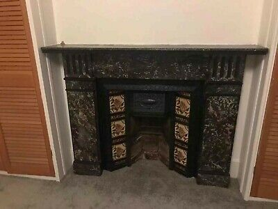 Victorian Cast Iron Fireplace With Whit Grey Marble Surround • 42£