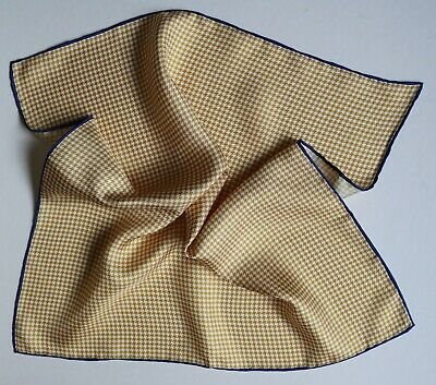Silk Pocket Square. Mustard Yellow Dogstooth With Blue Border. 40cm Hand Rolled • 10£