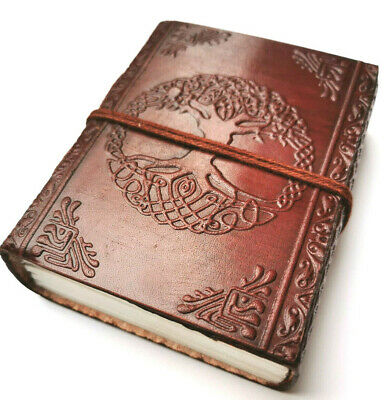 £6.95 • Buy Celtic Tree Leather Bound Journal Travel Book Of Shadows Steampunk Book Small