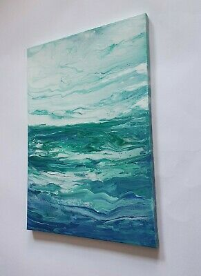 Green/Blue Sea Acrylic Painting On A3 Canvas  • 3.99£