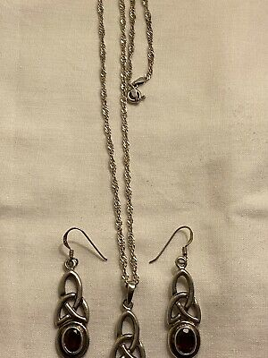 Solid Silver 925 Celtic Garnet Set Necklace And Earring Jewellery Set • 3£