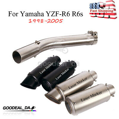 $98.98 • Buy For Yamaha YZF-R6 R6s 1998-2005 Exhaust System Pipe Muffler End Tips Connect Mid