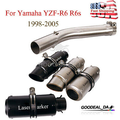 $98.98 • Buy Slip On Exhaust System Muffler Tips Middle Pipe For Yamaha YZF-R6 R6s 1998-2005