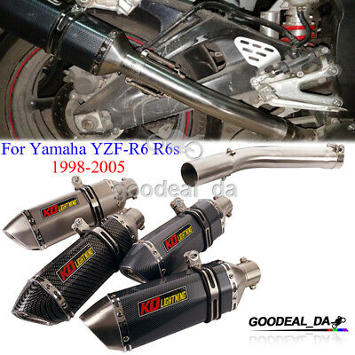 $97.65 • Buy For Yamaha YZF-R6 R6s 1998-2005 Escape Muffler Tip Slip Exhaust Middle Link Pipe