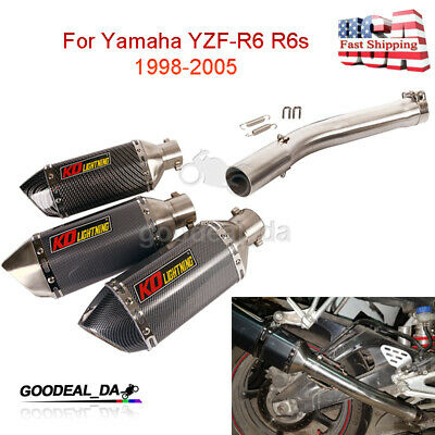 $102.65 • Buy For Yamaha YZF-R6 R6s 1998-2005 Exhaust Pipe System Muffler Middle Link Tube