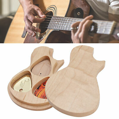 $ CDN16.73 • Buy Guitar Pick Box Maple Solids Wood + 3 Picks Guitarist Gifts For Musical Lovers