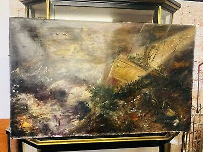 Antique Ship Sailing Oil Painting On Canvas Dark Textured Stormy Seas • 80£