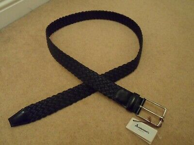 NEW ANDERSONS ITALY BLACK WOVEN 100% GENUINE LEATHER BELT With SILVER BUCKLE 105 • 39.99£